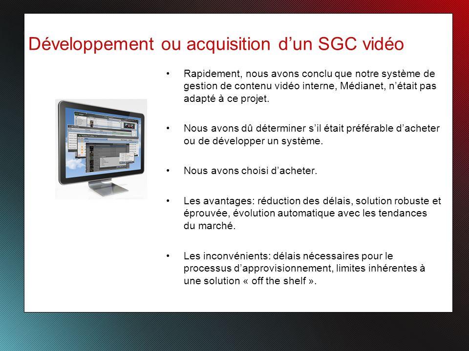 Développement ou acquisition dun SGC vidéo Rapidement, nous avons conclu que notre système de gestion de contenu vidéo interne, Médianet, nétait pas adapté à ce projet.