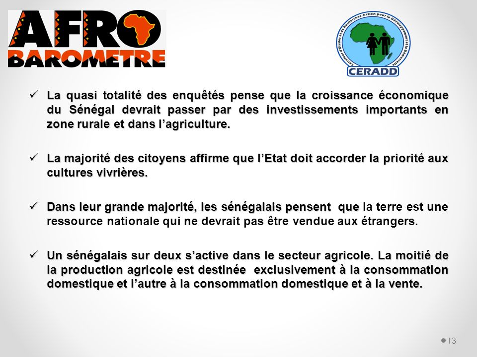 La quasi totalité des enquêtés pense que la croissance économique du Sénégal devrait passer par des investissements importants en zone rurale et dans lagriculture.