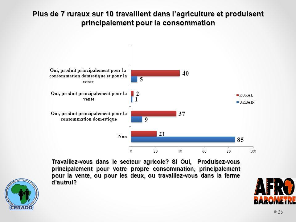 Plus de 7 ruraux sur 10 travaillent dans lagriculture et produisent principalement pour la consommation 25 Travaillez-vous dans le secteur agricole.