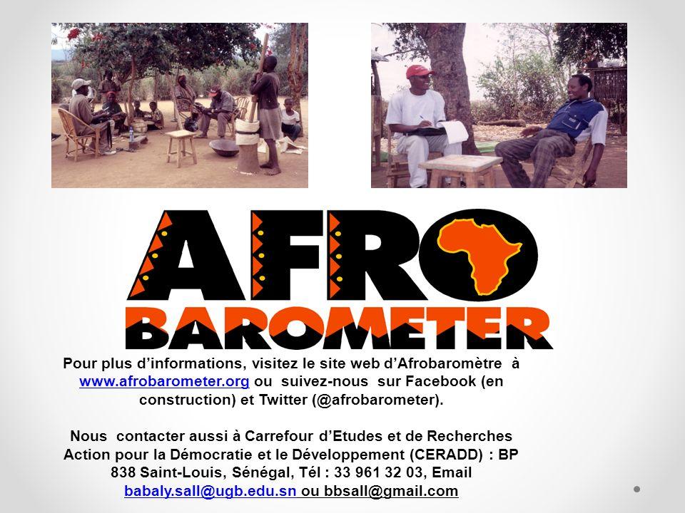 Pour plus dinformations, visitez le site web dAfrobaromètre à www.afrobarometer.org ou suivez-nous sur Facebook (en construction) et Twitter (@afrobarometer).