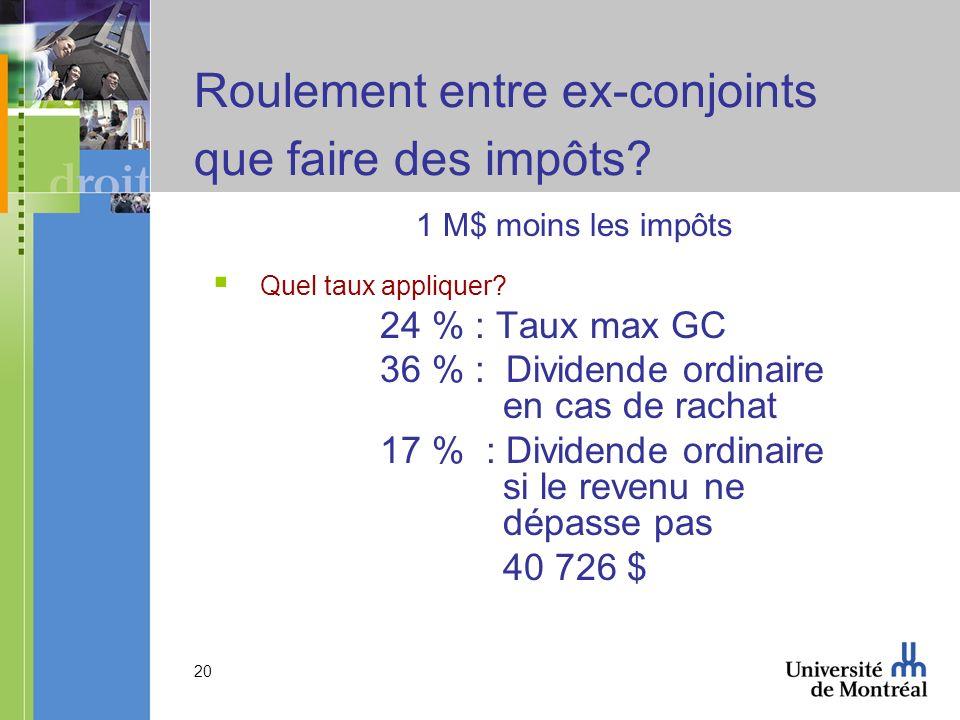 20 Roulement entre ex-conjoints que faire des impôts? 1 M$ moins les impôts Quel taux appliquer? 24 % : Taux max GC 36 % : Dividende ordinaire en cas