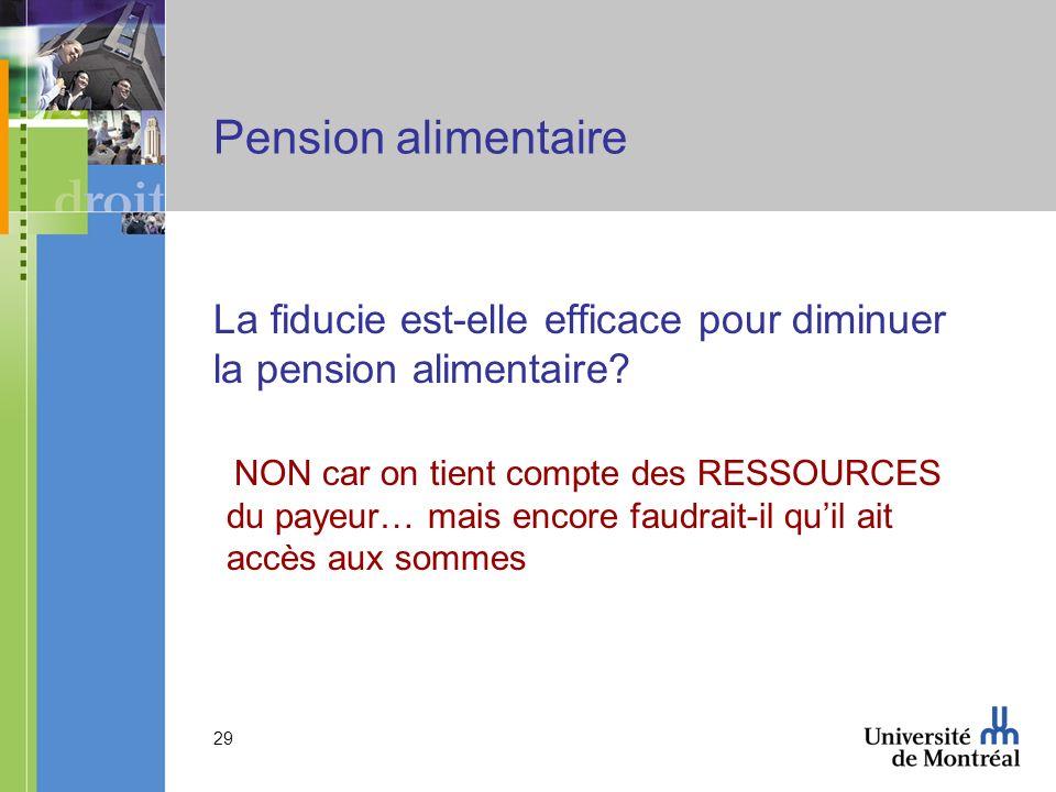 29 Pension alimentaire La fiducie est-elle efficace pour diminuer la pension alimentaire? NON car on tient compte des RESSOURCES du payeur… mais encor