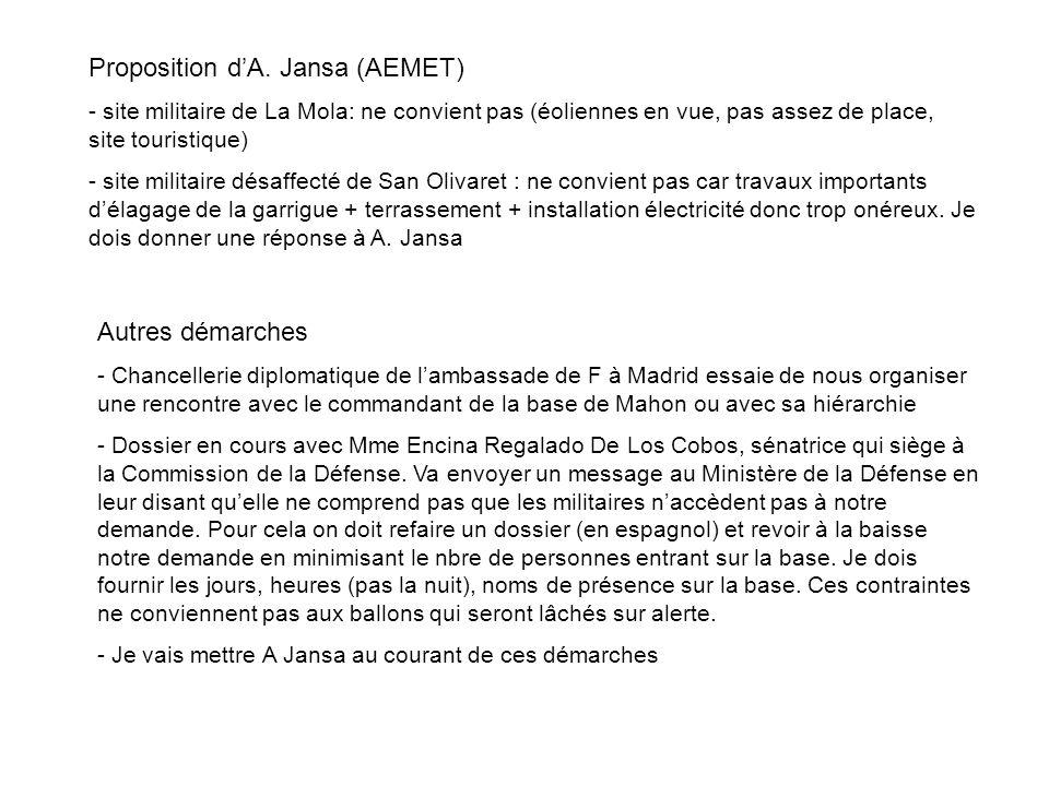Proposition dA. Jansa (AEMET) - site militaire de La Mola: ne convient pas (éoliennes en vue, pas assez de place, site touristique) - site militaire d