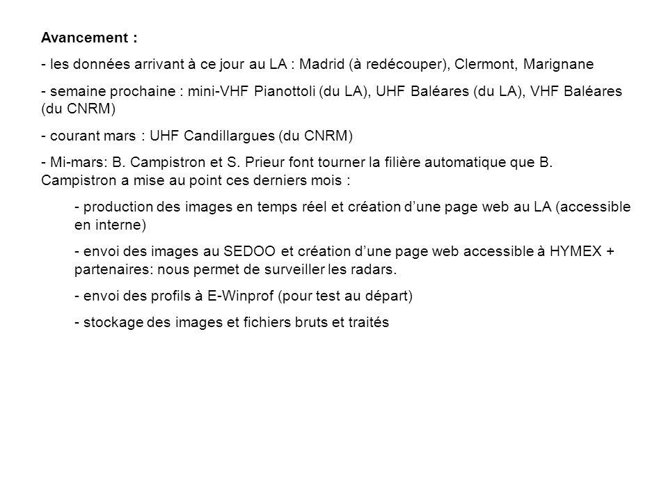 Avancement : - les données arrivant à ce jour au LA : Madrid (à redécouper), Clermont, Marignane - semaine prochaine : mini-VHF Pianottoli (du LA), UH