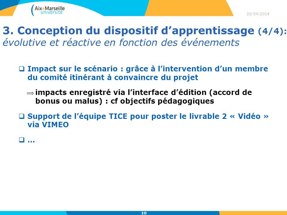 3. Conception du dispositif dapprentissage (4/4): évolutive et réactive en fonction des événements 25/04/2014 10 Impact sur le scénario : grâce à lint