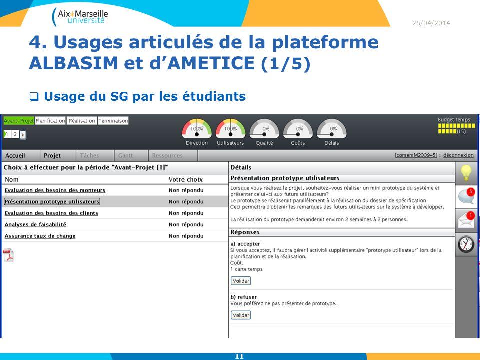 4. Usages articulés de la plateforme ALBASIM et dAMETICE (1/5) 25/04/2014 11 Usage du SG par les étudiants