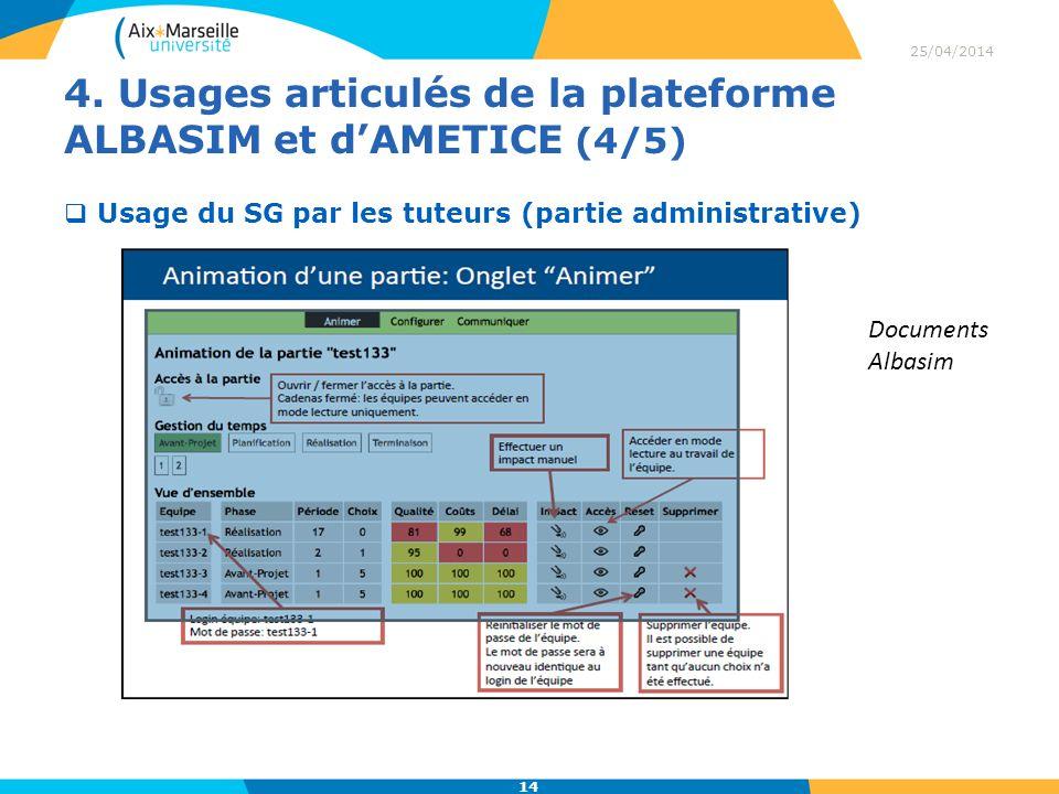 4. Usages articulés de la plateforme ALBASIM et dAMETICE (4/5) 25/04/2014 14 Usage du SG par les tuteurs (partie administrative) Documents Albasim