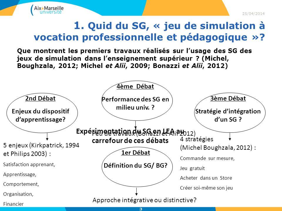 1. Quid du SG, « jeu de simulation à vocation professionnelle et pédagogique »? 25/04/2014 3 Que montrent les premiers travaux réalisés sur lusage des