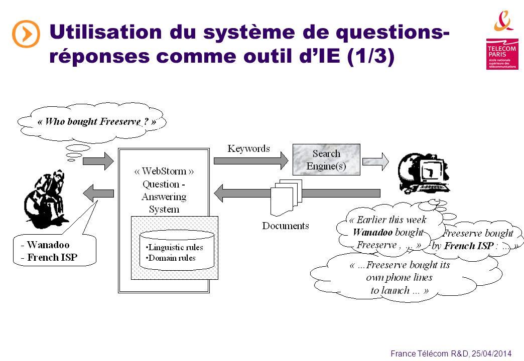 France Télécom R&D, 25/04/2014 Utilisation du système de questions- réponses comme outil dIE (1/3)