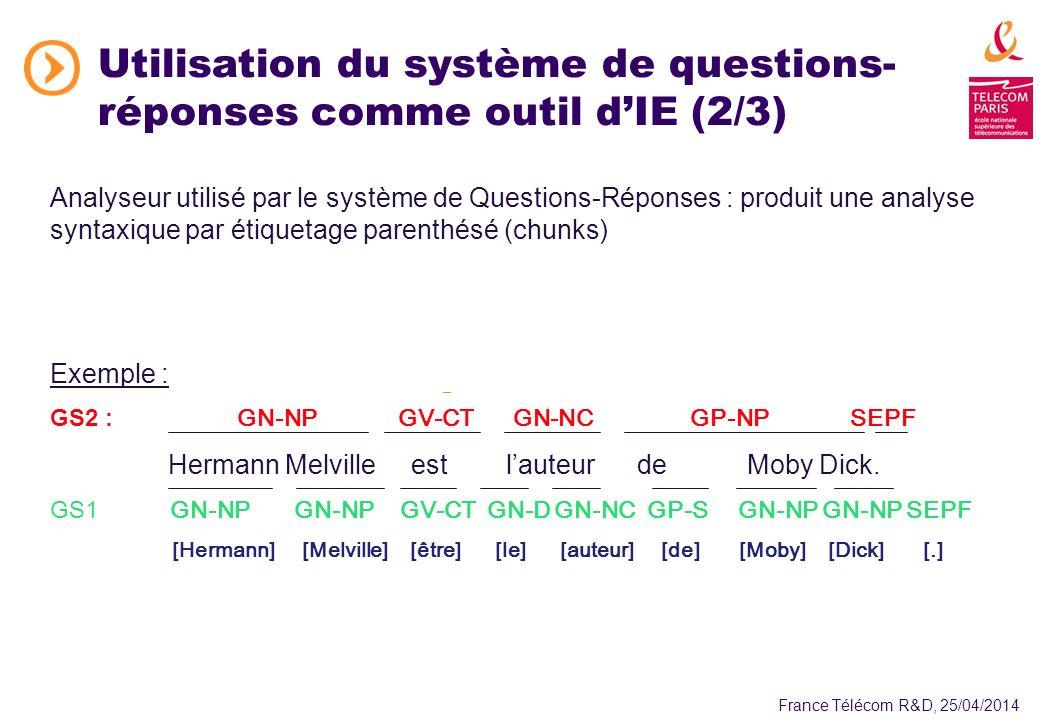 France Télécom R&D, 25/04/2014 Utilisation du système de questions- réponses comme outil dIE (2/3) Analyseur utilisé par le système de Questions-Réponses : produit une analyse syntaxique par étiquetage parenthésé (chunks) Exemple : GS2 : GN-NP GV-CT GN-NCGP-NPSEPF Hermann Melville est lauteur de Moby Dick.