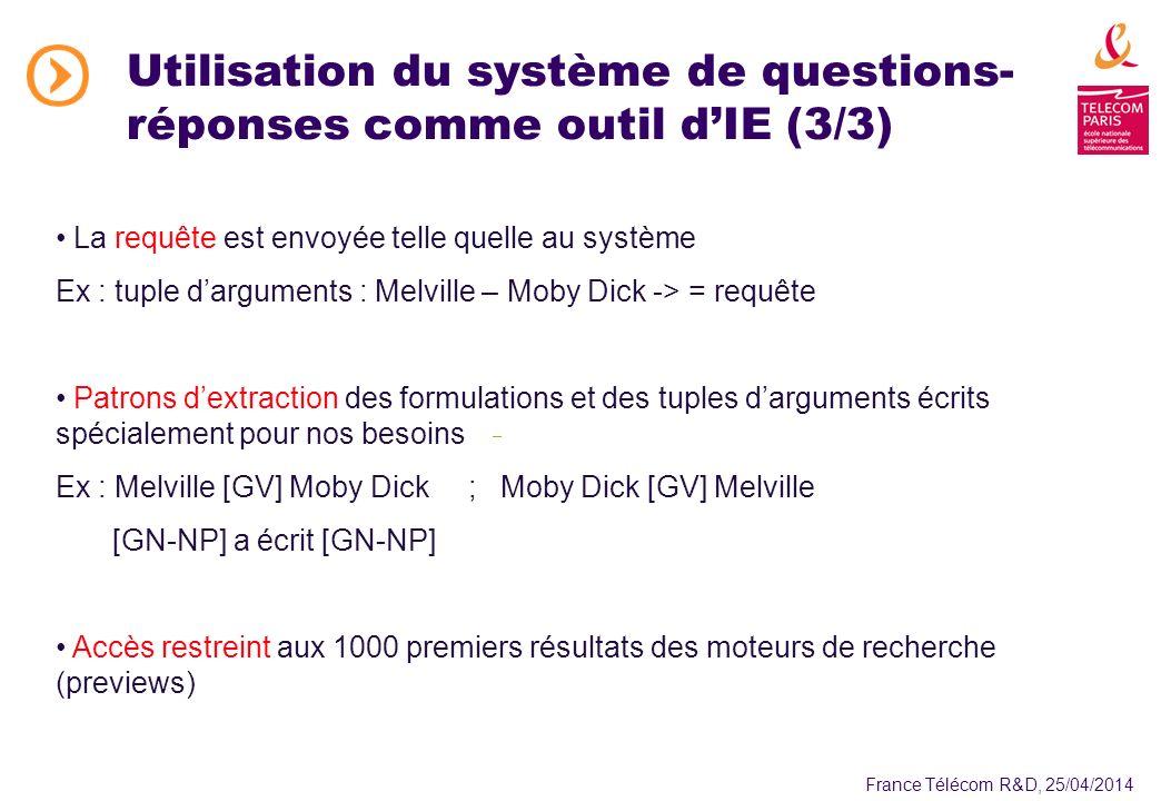 France Télécom R&D, 25/04/2014 La requête est envoyée telle quelle au système Ex : tuple darguments : Melville – Moby Dick -> = requête Patrons dextraction des formulations et des tuples darguments écrits spécialement pour nos besoins Ex : Melville [GV] Moby Dick ;Moby Dick [GV] Melville [GN-NP] a écrit [GN-NP] Accès restreint aux 1000 premiers résultats des moteurs de recherche (previews) Utilisation du système de questions- réponses comme outil dIE (3/3)
