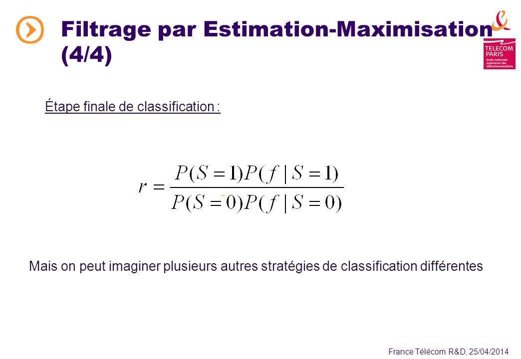 France Télécom R&D, 25/04/2014 Étape finale de classification : Mais on peut imaginer plusieurs autres stratégies de classification différentes Filtrage par Estimation-Maximisation (4/4)