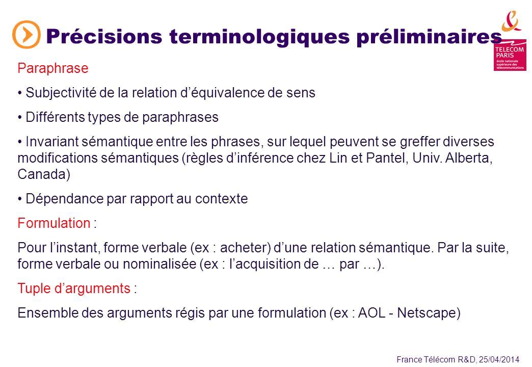 France Télécom R&D, 25/04/2014 Quelques éléments intéressants de létat de lart Barzilay (Univ.