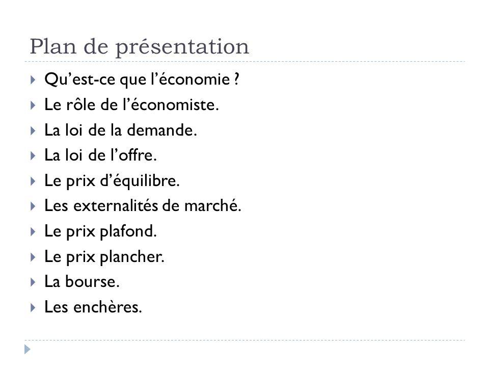 Plan de présentation Quest-ce que léconomie . Le rôle de léconomiste.