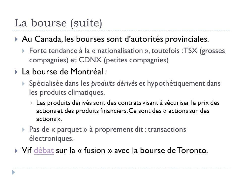 La bourse (suite) Au Canada, les bourses sont dautorités provinciales.