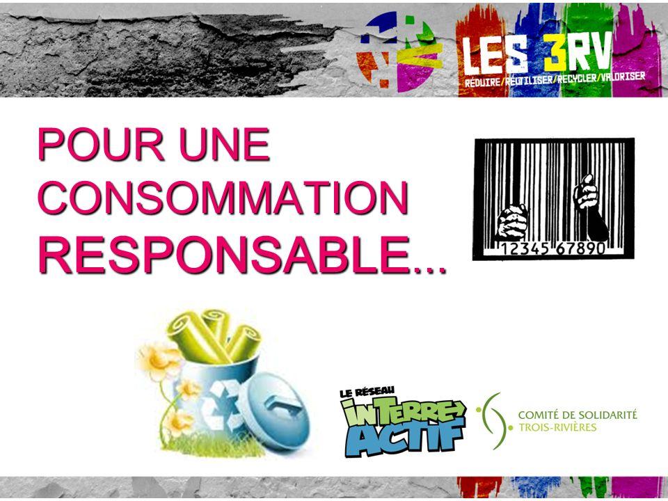 Atelier offert par le RÉSEAU IN-TERRE-ACTIF du Comité de Solidarité/Trois-Rivières POUR UNE CONSOMMATION RESPONSABLE...