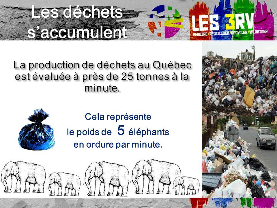 Cela représente le poids de 5 éléphants en ordure par minute. Les déchets saccumulent