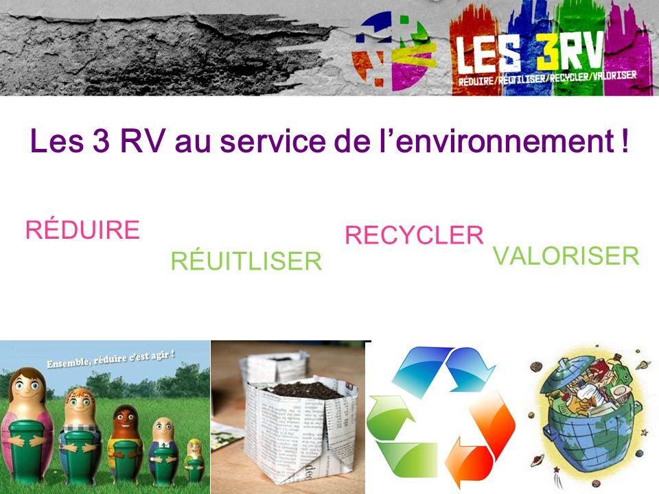 Les 3 RV au service de lenvironnement ! RÉDUIRE RÉUITLISER RECYCLER VALORISER 85 % de ces « déchets » pourraient et devraient être réutilisés, recyclé
