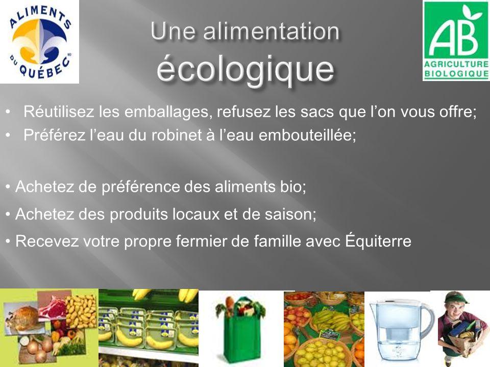 Achetez de préférence des aliments bio; Achetez des produits locaux et de saison; Recevez votre propre fermier de famille avec Équiterre Réutilisez le