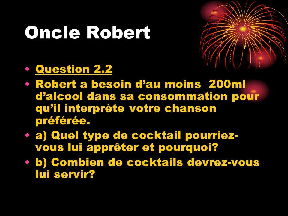 Le sage Question 2.3 Roger est le conducteur désigné; pour sassurer quil soit en état de conduire vous devez composer une demie recette de tequila sunrise.