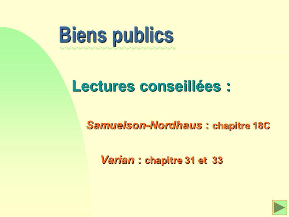 Biens publics Lectures conseillées : Samuelson-Nordhaus Samuelson-Nordhaus : chapitre 18C Varian Varian : chapitre 31 et 33