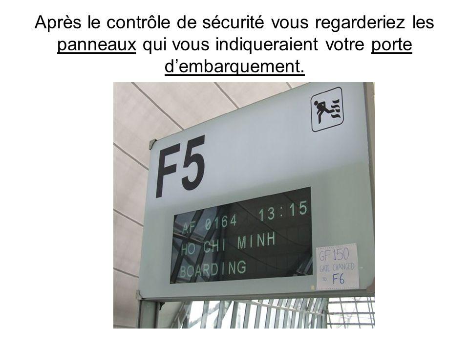 Après lenregistrement des bagages vous passeriez au contrôle de sécurité où les contrôleurs regarderaient dans les sacs à dos et sac à main à laide de
