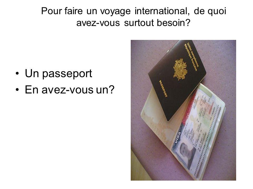 Pour faire un voyage international, de quoi avez-vous surtout besoin? Un passeport En avez-vous un?