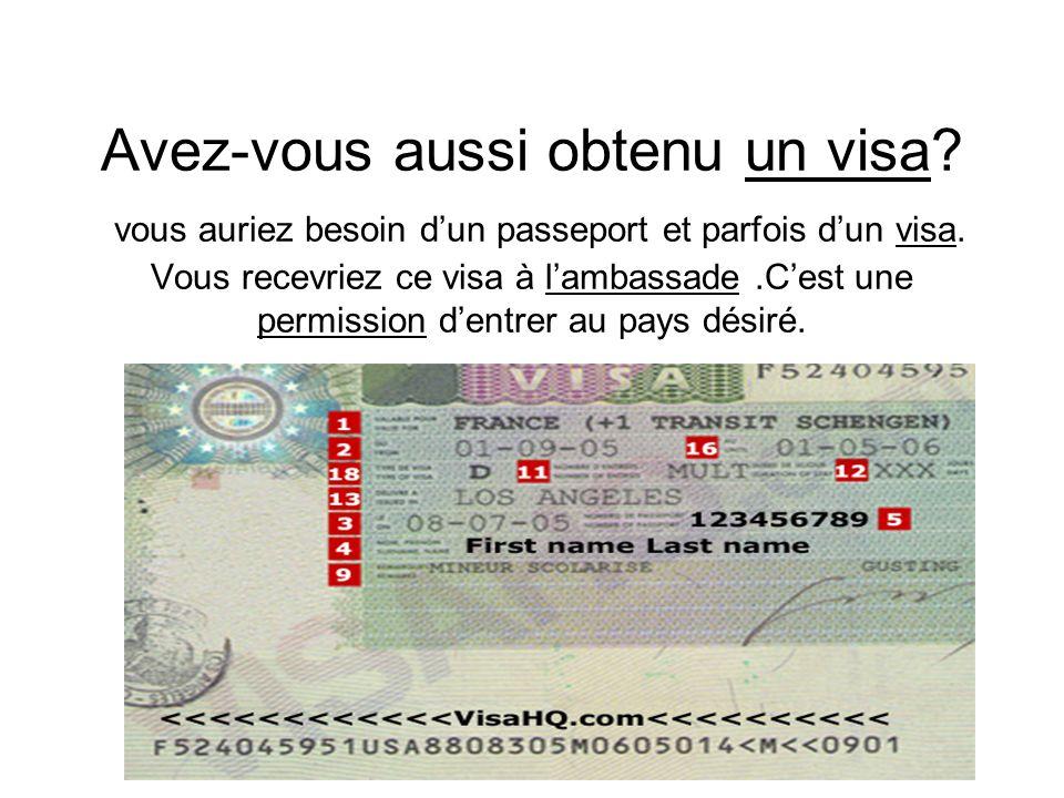 Avez-vous aussi obtenu un visa.vous auriez besoin dun passeport et parfois dun visa.
