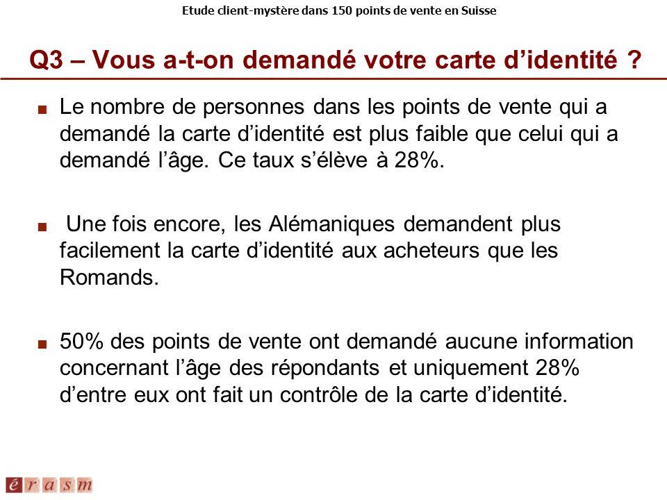 Etude client-mystère dans 150 points de vente en Suisse Le nombre de personnes dans les points de vente qui a demandé la carte didentité est plus faib