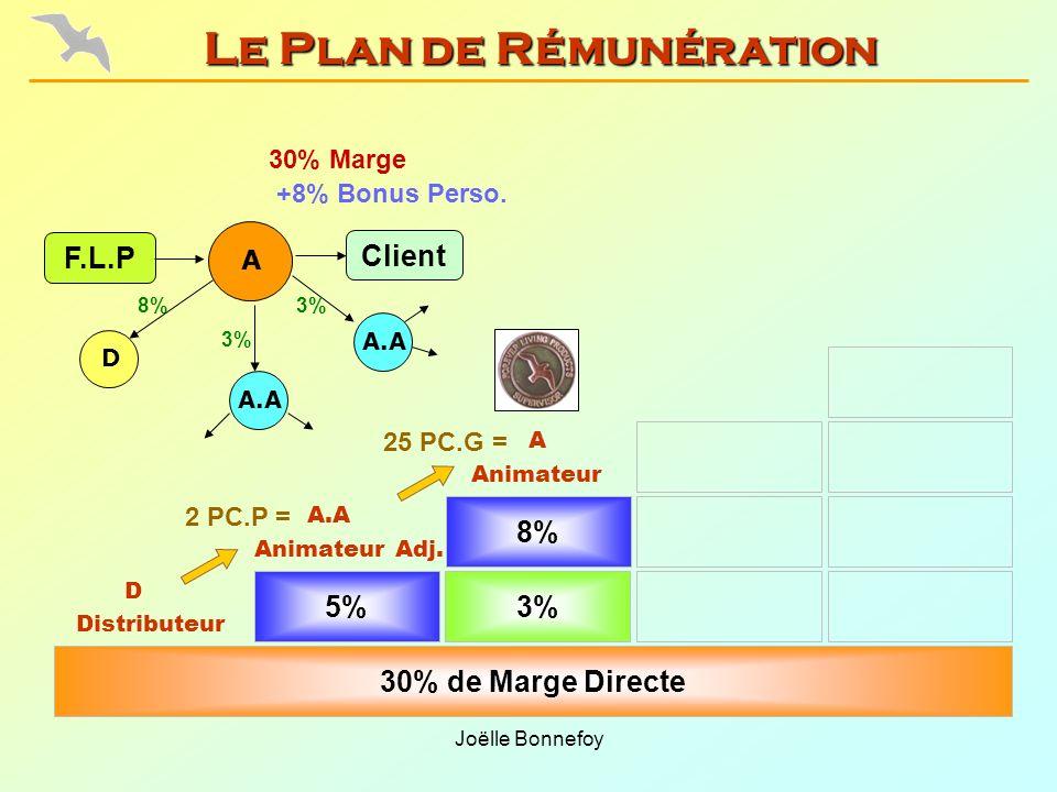 Joëlle Bonnefoy 5% Animateur Adj. 30% de Marge Directe 8% Animateur Distributeur 25 PC.G = 2 PC.P = 30% Marge F.L.P 3% 8% D A.A +8% Bonus Perso. A 3%