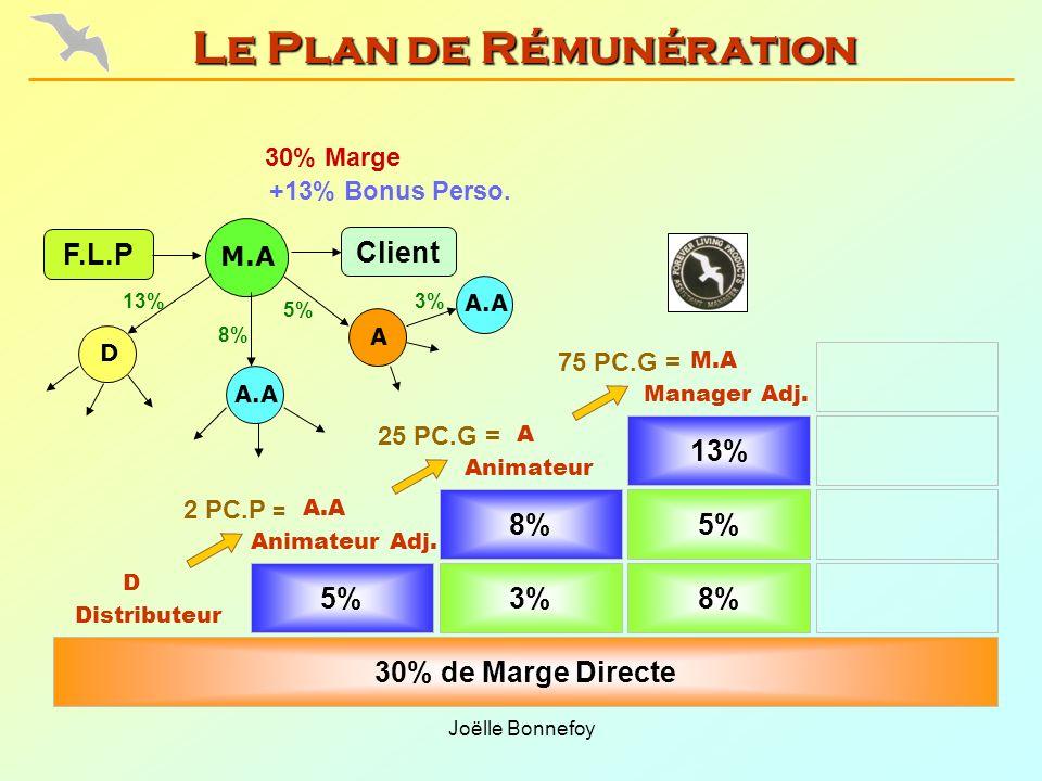Joëlle Bonnefoy 5% Animateur Adj. 3%8% 30% de Marge Directe 8%5% Animateur Manager Adj. 13% Distributeur 75 PC.G = 25 PC.G = 2 PC.P = 30% Marge F.L.P