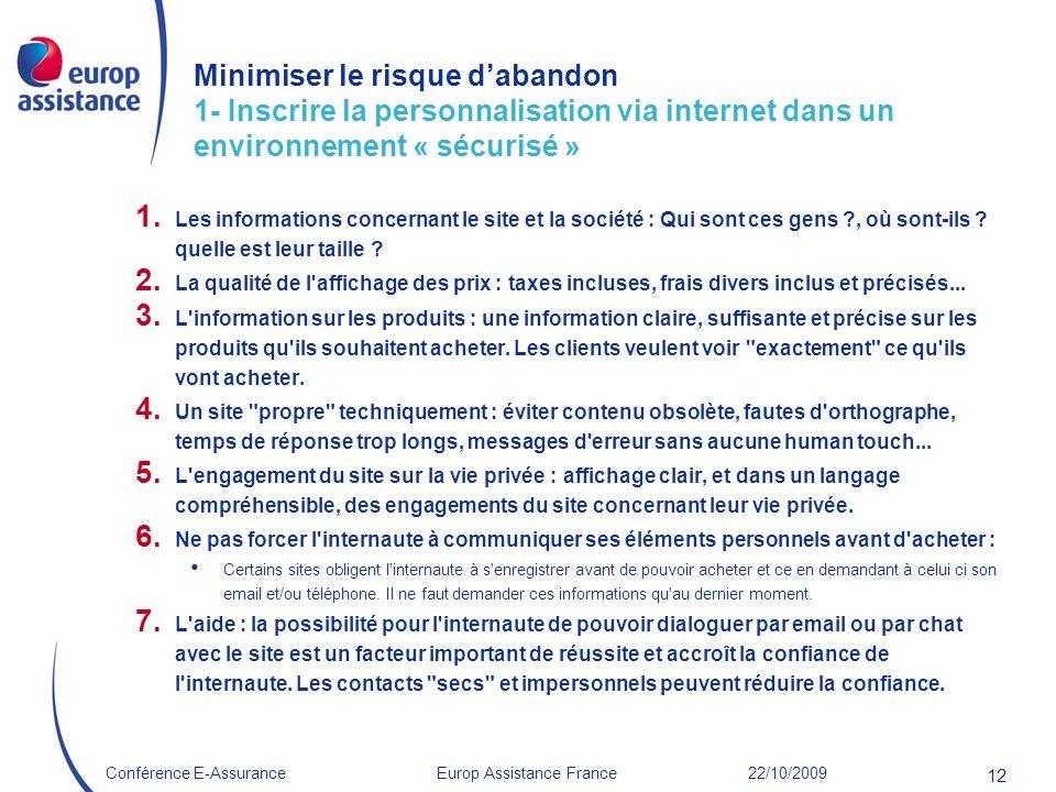 Europ Assistance France 22/10/2009Conférence E-Assurance 12 Minimiser le risque dabandon 1- Inscrire la personnalisation via internet dans un environn