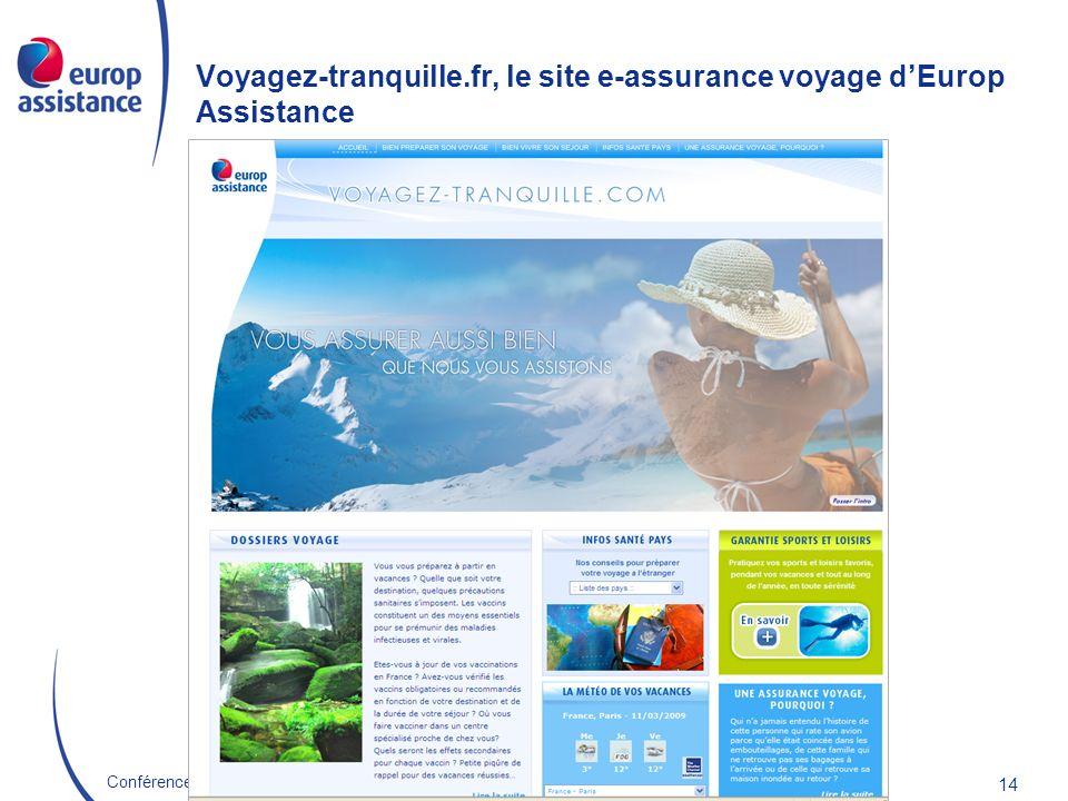 Europ Assistance France 22/10/2009Conférence E-Assurance 14 Voyagez-tranquille.fr, le site e-assurance voyage dEurop Assistance