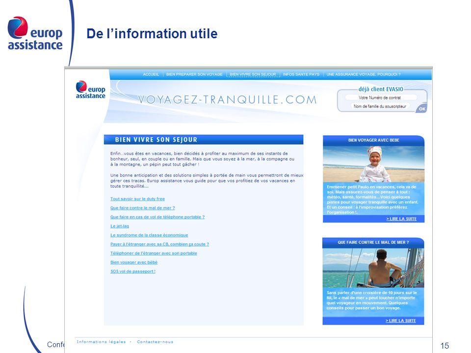 Europ Assistance France 22/10/2009Conférence E-Assurance 15 De linformation utile