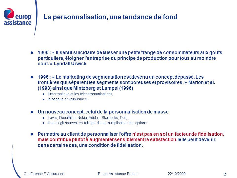 Europ Assistance France 22/10/2009Conférence E-Assurance 2 La personnalisation, une tendance de fond 1900 : « Il serait suicidaire de laisser une peti