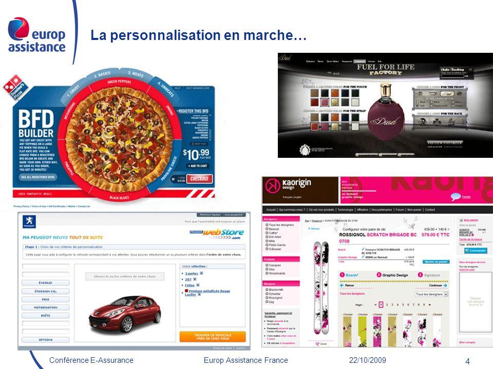 Europ Assistance France 22/10/2009Conférence E-Assurance 4 La personnalisation en marche…