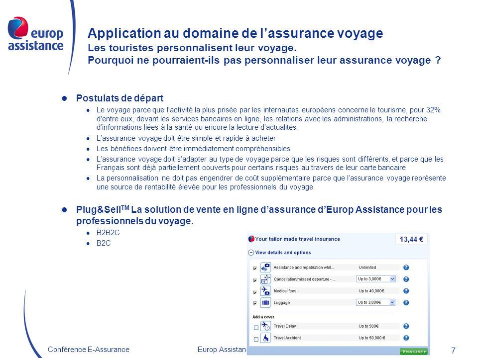 Europ Assistance France 22/10/2009Conférence E-Assurance 7 Application au domaine de lassurance voyage Les touristes personnalisent leur voyage. Pourq
