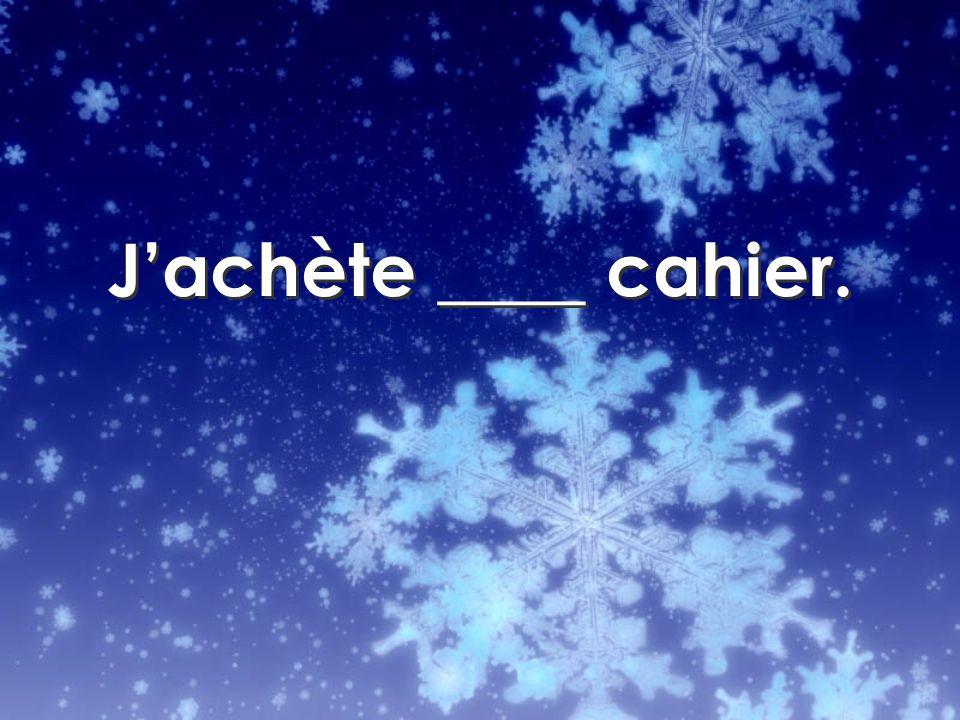 Jachète ____ cahier.
