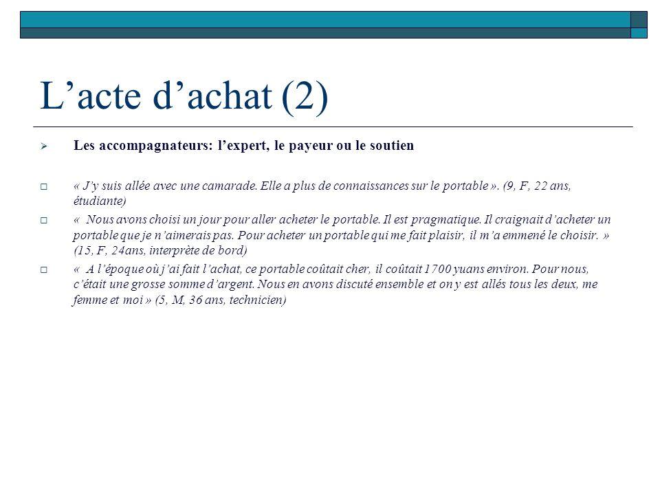 Lacte dachat (2) Les accompagnateurs: lexpert, le payeur ou le soutien « Jy suis allée avec une camarade. Elle a plus de connaissances sur le portable