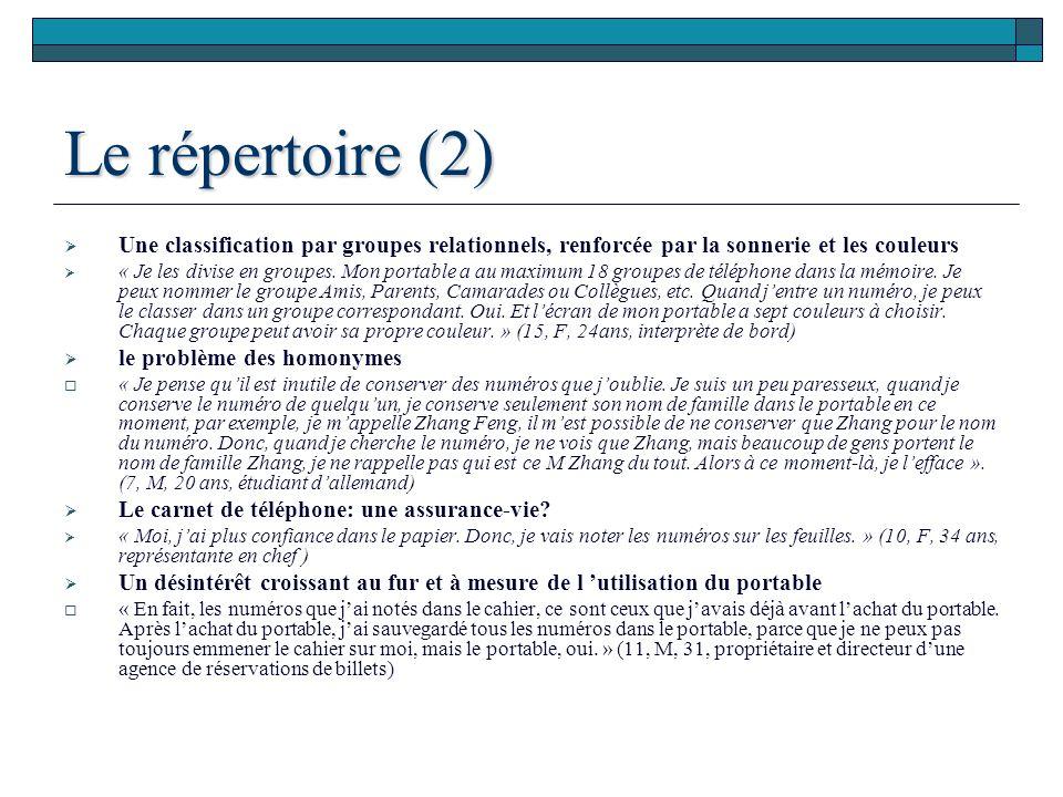 Le répertoire (2) Une classification par groupes relationnels, renforcée par la sonnerie et les couleurs « Je les divise en groupes. Mon portable a au
