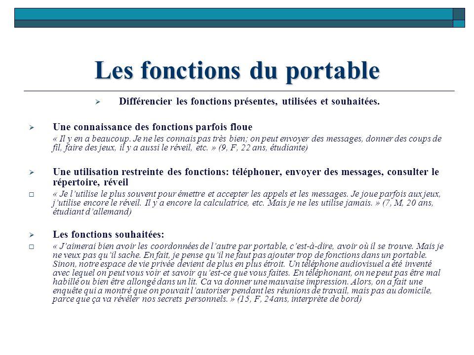 Les fonctions du portable Différencier les fonctions présentes, utilisées et souhaitées.