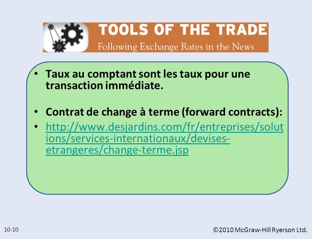 Taux au comptant sont les taux pour une transaction immédiate. Contrat de change à terme (forward contracts): http://www.desjardins.com/fr/entreprises