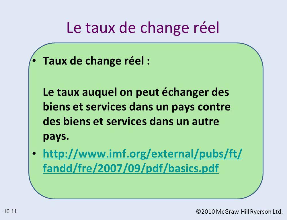 Le taux de change réel Taux de change réel : Le taux auquel on peut échanger des biens et services dans un pays contre des biens et services dans un a