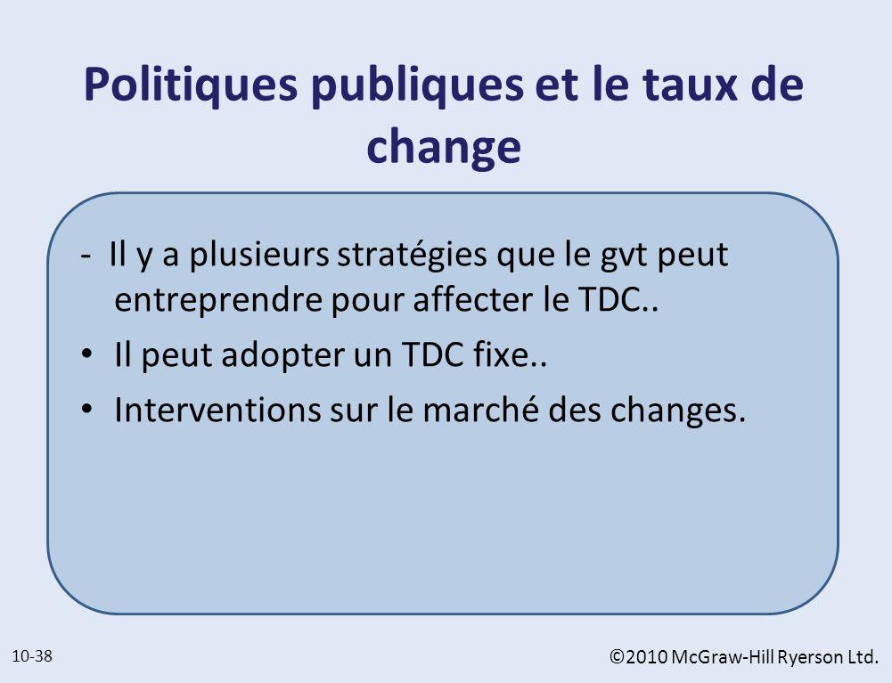 Politiques publiques et le taux de change - Il y a plusieurs stratégies que le gvt peut entreprendre pour affecter le TDC.. Il peut adopter un TDC fix