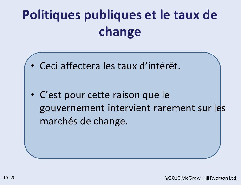 Politiques publiques et le taux de change Ceci affectera les taux dintérêt. Cest pour cette raison que le gouvernement intervient rarement sur les mar