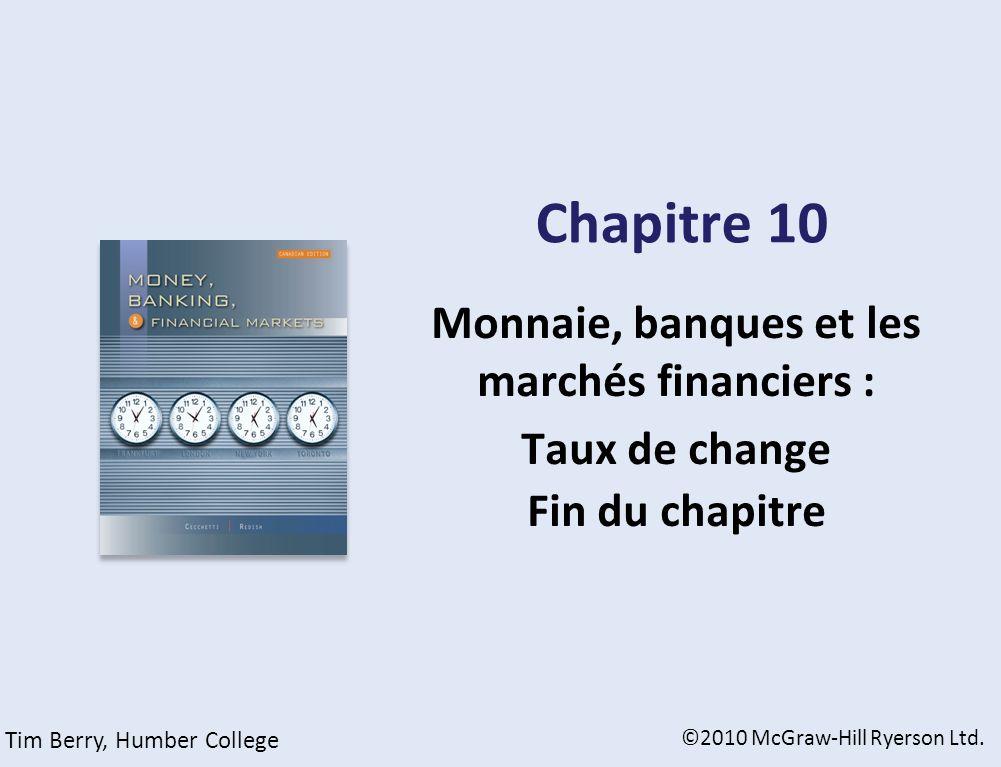 Chapitre 10 Monnaie, banques et les marchés financiers : Taux de change Fin du chapitre ©2010 McGraw-Hill Ryerson Ltd. Tim Berry, Humber College