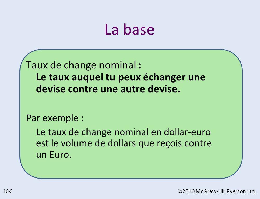 La base Taux de change nominal : Le taux auquel tu peux échanger une devise contre une autre devise. Par exemple : Le taux de change nominal en dollar