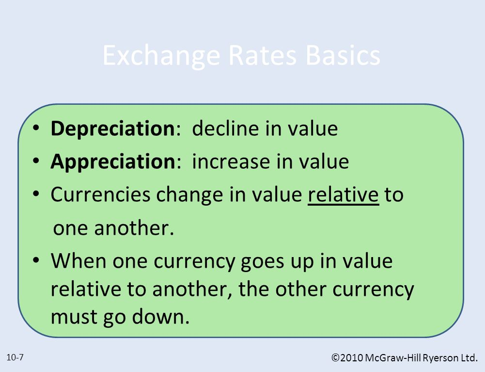Exchange Rates Basics Depreciation: decline in value Appreciation: increase in value Currencies change in value relative to one another. When one curr