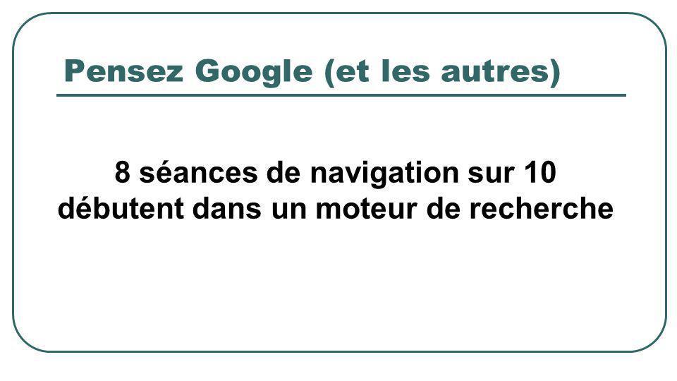 Pensez Google (et les autres) 8 séances de navigation sur 10 débutent dans un moteur de recherche
