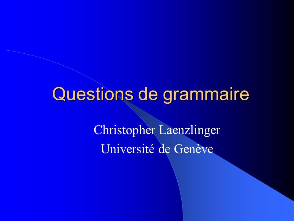 Questions de grammaire Christopher Laenzlinger Université de Genève